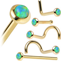 14K Yellow Gold 2mm Lime Synthetic Opal Nose Ring | Body Candy Body Jewelry