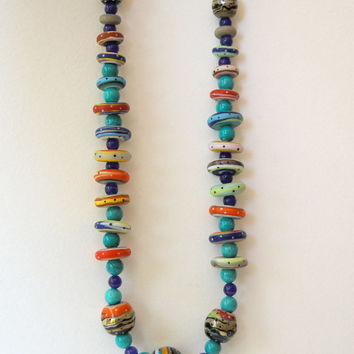 Colorful Necklace, Lampwork Glass Necklace, Beaded Necklace, Artisan Necklace