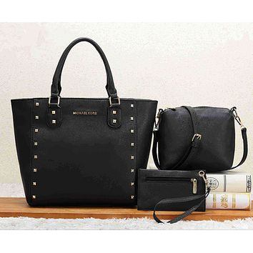 Michael Kors MK Women Leather Handbag Shoulder Bag Crossbody Purse Wallet Set Three Piece