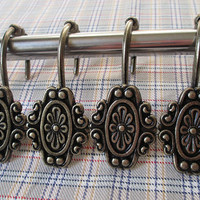 12 PCS - Vintage Style Flower Decorative Rolling Shower Curtain Hooks Rings Metal Antique Bronze / Rustic Bathroom Accessory Hardware