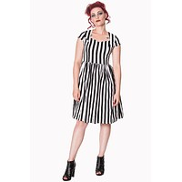 Lost Queen Gothic Black and White Striped Night Circus Dress