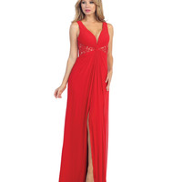 Red & Nude Lace & Chiffon Long Gown 2015 Prom Dresses