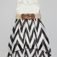 Black & White Zigzag Lace Belted Dress - Girls | something special every day