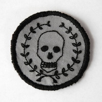 Mors Vincit Omnia  Hand Embroidered 2.5 Skull and by SomeRabbits
