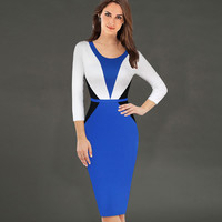 Vfemage Womens Slimming Elegant Symmetry Colorblock Contrast Tunic Stretch Casual Work Office Business Bodycon Sheath Dress 1971