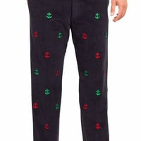 Beachcomber Corduroy Pant Nantucket Navy With Red And Green Anchors