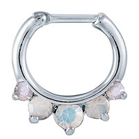 White Prong Sparkle 316L Surgical Steel Septum Clicker