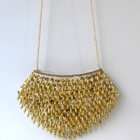 Vintage 1980s gold sequins and gold tear drop bead evening purse