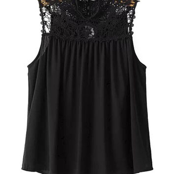Ruched Sleeveless Lace Crochet Blouse