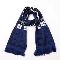 Brandnew Doctor Who TARDIS Design Deluxe double-layer Soft Warm Knitted Scarf Christmas Birthday Gifts (Color Blue) = 1945735492