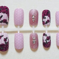 Baby Pink / Pastel Pink Fake Nails with Vintage Dark Pink Roses, Stripes, Dots, Glitter, Silver Beads and Crystals Nail Set