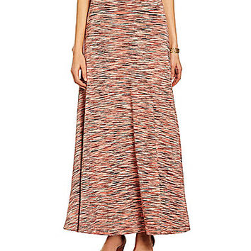 Joan Vass New York Space Dye-Print Full Skirt - Coral Combo