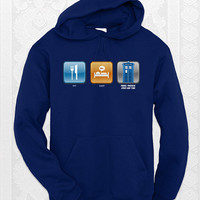 Eat, Sleep, Time Travel - Unisex geeky doctor who hoodie. Comes in navy, royal, and carolina blue.
