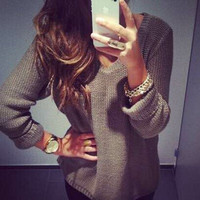 Ladies Womens Long Sleeve Oversized Baggy Knitted Jumper Chunky Sweater