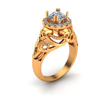 Skull Engagement Ring in 14 k Gold with Lab Created Center