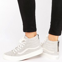 Vans - Sk8-Hi - Baskets en daim effilées - Gris at asos.com