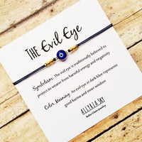 Dark Blue Evil Eye Bracelet with Card   Gold Plated Evil Eye Jewelry   Positive Energy, Good Fortune, Protection   Gift for Her