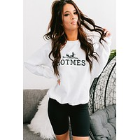 """Hot Mess"" Graphic Crew Neck Sweatshirt (White)"