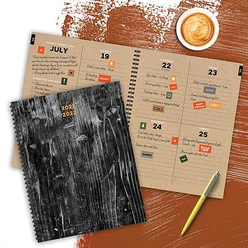 July 2021-June 2022 Burnt Wood Large Daily Weekly Monthly Planner + Coordinating Planning Stickers