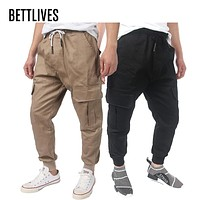 Hight Street Men's Cargo Pants Mens Cotton Casual Pants Men's Working Trousers with Pockets Military Overalls VB1221