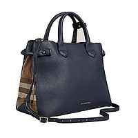 Tote Bag Handbag Authentic Burberry Medium Banner in Leather and House Check INK BLUE Item 39830391