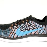Nike Men's Free 4.0 Flyknit Black/Blue Running Shoes 717075 009