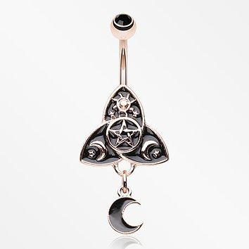 Rose Gold Deity Unity Spell Moon Dangle Belly Button Ring