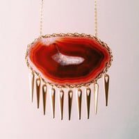 Agate Stone Statement Necklace. Rust Red Geode With Spikes