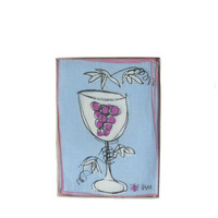 Vintage Cocktail Napkins Linen Lavender and Bright Purple Wine Glass Grape Cluster Print by Vera - Set of 8 with Original Box - Pink Trim