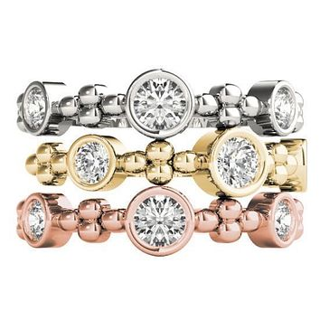 Stackables 1/2 Eternity Tri-Tone Gold Three Round Bezel-Set Diamonds 3-Band Set Selectables