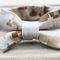 Military Cammie Adjustable Bow-tie for Boys (USMC Desert/Woodland, Army, Navy, Air Force), Photo Prop, Homecoming Accessory