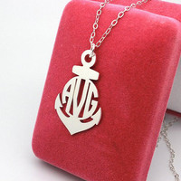 Anchor Personalized Monogram Necklace,valentines gift,Personalized necklace sterling silver