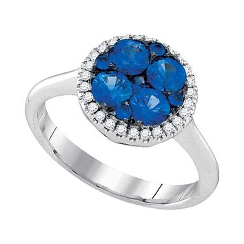 14k White Gold Round Blue Sapphire Cluster Diamond Halo Bridal Ring 1 Cttw