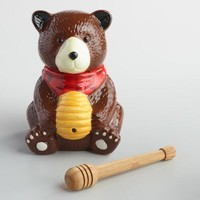Bear Ceramic Honey Pot with Bamboo Dipper