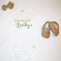 St. Pattys Day outfit, toddler shirt, baby girl Onesuit, St Patrick's day glitter shirt, glitter Onesuit, st pattys day girls clothes