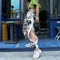 Women Casual Fashion Side Buttons Camouflage High Waist Leisure Pants Trousers Harlan Pants