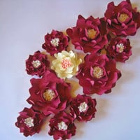 Set of 11 Maroon Paper Flowers, Big Paper Flowers, Medium Flowers, Floral Wall Decor, Wall Paper Flower, Paper Wedding Decor, Centerpiece