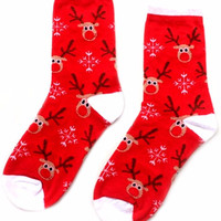 Red Reindeer Ankle Socks