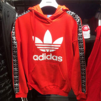 """Adidas"" Women Fashion Hooded Top Pullover Sweater Sweatshirt Hoodie Red"