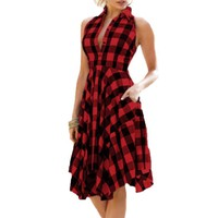 Women Vintage Bodycon Plaid Sleeveless Zipper Irregular Hem Evening Party Dress Retro style red big swing dresses vestidos
