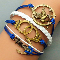 Hunger Games -Handcuffs -Anchor Bracelet-Bronze Charm Bracelet Navy Ropes and White Braided Leather Cute Personalized Bracelet  658A