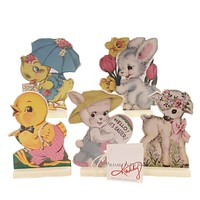 Easter RETRO EASTER STAND UPS Wood Bunny Chicks Lamb 34798