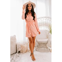 Find The Time Button Up Dress (Peach)