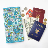 Family cotton floral travel wallet, Turquoise travel holder, Boarding pass cover, Teal Blue Passport wallet, Aquamarine document organizer