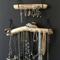 Set of 2 - Driftwood Jewelry Organizer Necklace Holder Hanging Wall Accessory Display - Boho Bohemian Functional Storage Decor Gift
