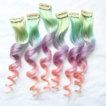 PASTEL UNICORN OMBRE 100% Human Hair Extensions : Unicorn Hair, Pastel Ombre, Ombre Extensions, Pastel Extensions, Clip In Extensions