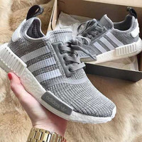 "2017 ""Adidas"" NMD Fashion Trending Women Leisure Running Sports Shoes Light gray"