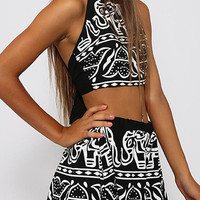 Two Piece Backless Halter Crop Top with High Waist Shorts