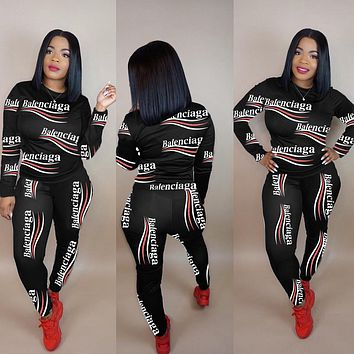 balenciaga Women Casual Print Sweater Pants Set Two-Piece Sportswear