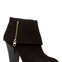 Black Faux Suede Fold Over Chunky Booties